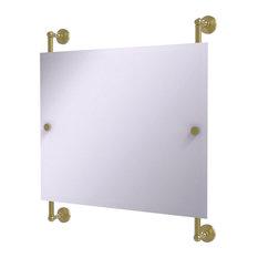 Waverly Place Landscape Frameless Rail Mounted Mirror, Satin Brass