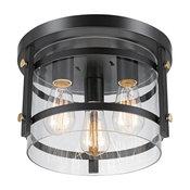 Wexford 3-Light Dark Bronze Semi-Flush Mount Ceiling Light, Clear Glass