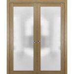 SARTODOORS - Double Pocket Door 56x80 Frosted Glass | Planum 2102 Honey Ash - SartoDoors - the european doors of modern minimal design.