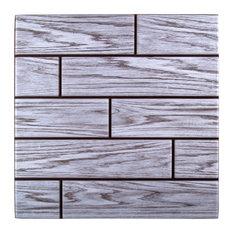 "3D Gray Woodgrain Peel & Stick Wall Tiles, 11.8""x11.8"", Gray, 6 Pieces"