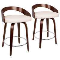 Grotto Counter Stool with Swivel in Cherry with White Faux Leather   - Set of 2