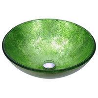 ANZZI Posh Series Deco-Glass Vessel Sink, Golden Green