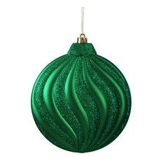 Northlight Seasonal - Matte Glitter Swirl Shatterproof Christmas Disc Ornaments, Set of 6, Xmas Green - Christmas Ornaments