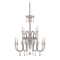 """Chandelier 12-Light With White Washed Driftwood Finish Candelabra 38"""" 720W"""