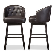 Avril Faux Leather Tufted Swivel Barstool With Nail Heads Trim, Set of 2, Brown