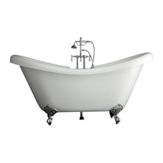 Double Slipper Clawfoot Bathtub/Faucet Package, Chrome, 67""