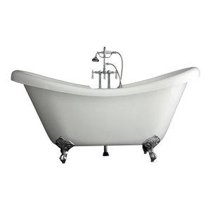 "Double Slipper Clawfoot Bathtub/Faucet Package, Chrome, 67"""