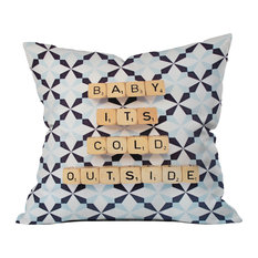 "Deny Designs Happee Monkee Baby Its Cold Outside Throw Pillow, 16""x16"""