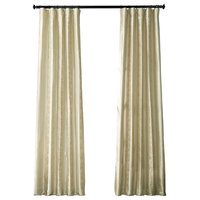 Papillon Silver Taupe Faux Silk Taffeta Curtain Single Panel, 50W x 96L