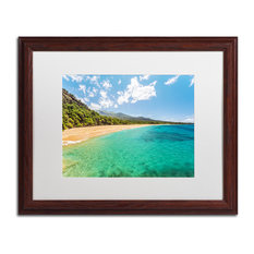 Pierre Leclerc 'Makena Beach Maui' Matted Framed Art, Wood Frame, White, 20x16