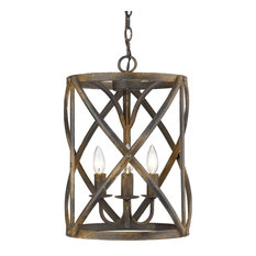 Alcott 3-Light Pendant, Antique Black Iron
