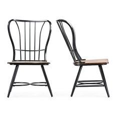 Baxton Studio - Longford Dining Chair, Set of 2, Dark Walnut/Black - Dining Chairs