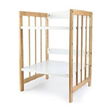 Contemporary Stylish Storage Organiser in Bamboo MDF with White Open Shelves