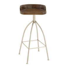 Brown Iron and Wood Contemporary Bar Stool, 33x16x12