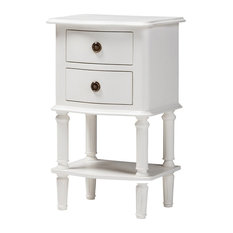 Wholesale Interiors - Baxton Studio Audrey Country Cottage Farmhouse White 2-Drawer Nightstand - Nightstands and Bedside Tables