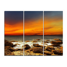 """""""Red Sky over Rocky Seashore"""" Photography Canvas Print, 3 Panels, 36""""x28"""""""