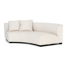 Zoe Modern Classic Curved Crescent Cream Upholstered Sofa - Left Arm Facing