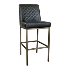 Leather Bar Stool With Bronze Steel Frame Black