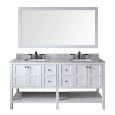 Virtu USA Winterfell 72-inch White Double Sink Vanity Set With Marble Top Square