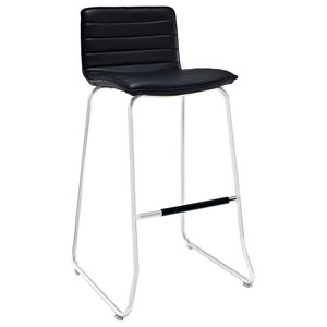Dive Faux Leather Bar Stool, Black