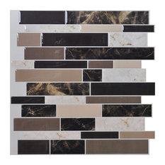 "12""x12"" Peel and Stick Backsplash Wall Tile, Marble, Set of 6"