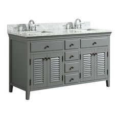 "1st Avenue - Callum Gray Bathroom Vanity With Marble Counter, 60"" - Bathroom Vanities and Sink Consoles"