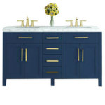 """JWH Living - 59"""" Boardwalk Vanity With Marble Top, Navy Blue - The 59"""" Boardwalk Double Bath Vanity features solid oak construction and a crisp Navy Blue finish that will brighten any bathroom. Marble top and square shaped porcelain under-mount sink included."""