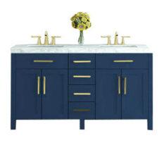 """59"""" Boardwalk Vanity With Marble Top, Navy Blue"""