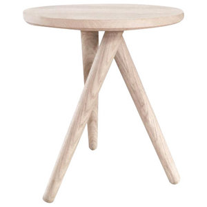 Oak Three Legged Table, Natural Wood