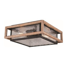 "Modoc 12"" Outdoor Flush Mount, Textured Dark Bronze/Distressed Oak"