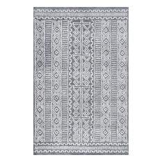 Hand-Tufted Fretted Diamond Area Rug, Gray, 5'x8'