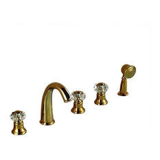 Rubin Gold Widespread 5-Piece Bathroom Tub Faucet Three Handles