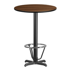 30'' Round Walnut Table Top And 22''x22'' Bar Height Table Base And Foot Ring