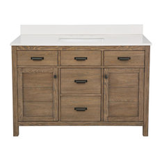 Vanity In Reclaimed Oak And Engineered Stone Vanity Top In Creamed Coffee