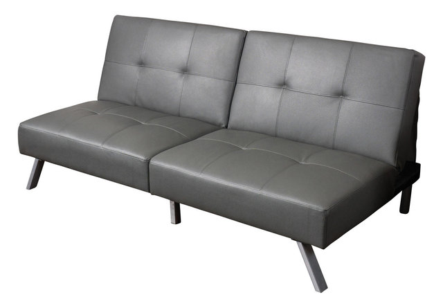 Heston Vinyl Click Clack Futon Sofa Bed Gray