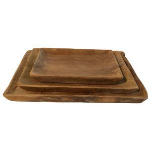 Square Teak Wood Plates, Set of 3