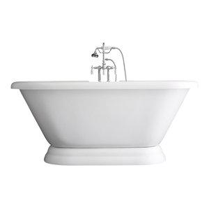 "Double Ended Pedestal Bathtub/Faucet Package, Chrome, 67"""