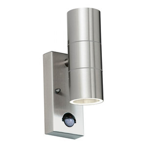 Polished Stainless Steel & Clear Glass 2lt Wall IP44 35W