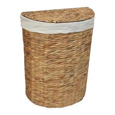 Water Hyacinth Semi-Circle Laundry Basket, Small