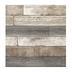 Weathered Wood Plank Wallpaper, Gray/Taupe/White, Sample