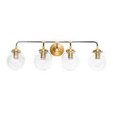 4-Light Globe Vanity Sconce, Black and Gold, Mounted Bathroom Vanity Light