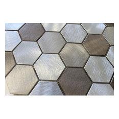 "New Amsterdam Brushed Aluminum Hexagon Mosaic Tile, 12""x12"""