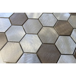 """Rocky Point Tile - New Amsterdam Brushed Aluminum Hexagon Mosaic Tile, 12""""x12"""" - Hexagon mosaics have made a big come back over the past couple of years. And, why not? They have a nice balanced appearance that's easy on the eyes! If you're looking for a bit of warmth in your new kitchen this is a nice choice. Colors include taupe, brown, and silvery aluminum finished with a polished circular texture on each tile. Please note, aluminum tiles are not recommended for use in wet areas."""