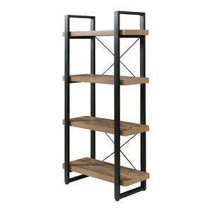 Bourbon Foundry 4-Tier Bookshelf, Wood And Black Steel