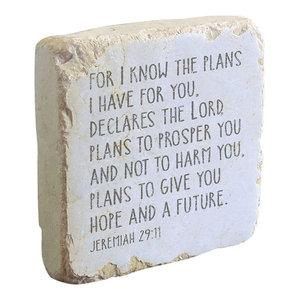 Jeremiah 29:11 Scripture Stone - Indoor Outdoor Garden Decor - Tumbled Marble