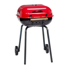 The Swinger Grill With Adjustable Six-Position Cooking Grid, Black, Red
