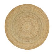 Elsinore Hand-Braided Natural jute Round Contemporary Area Rug, 5' X 5'