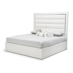 Michael Amini - Aico State St King Upholstered Panel Bed in Glossy White 9016000EKP-116 - Panel Beds