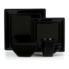 16 Piece Square Beaded Stoneware Dinnerware set by Lorren Home Trends, Black