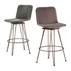 GDFStudio - Pines Outdoor Wicker Barstools With Black Brush Copper Iron Frame, Set of 2 - Outdoor Bar Stools and Counter Stools